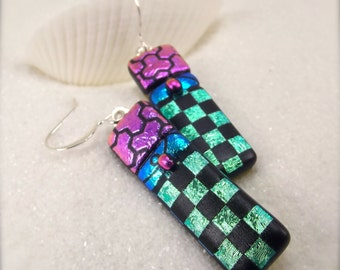 Fused glass earrings, Dichroic Earrings,dichroic glass,dichroic, statement jewelry,jewel toned,handcrafted earrings,women's handmade, ooak