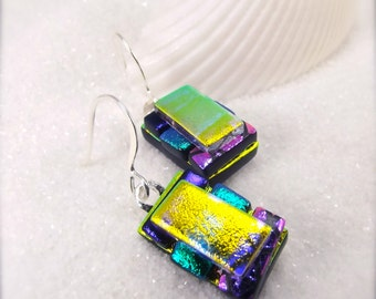 Fused glass jewelry, dichroic glass earrings, Hana Sakura, dichroic glass jewelry, trending now, dichroic earrings, yellow jewelry, modern