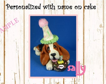 Tri Color Basset Hound BIRTHDAY dog - NAME on heart - OOAK Clay Cake Topper art by Sally's Bits of Clay Original Sculpture