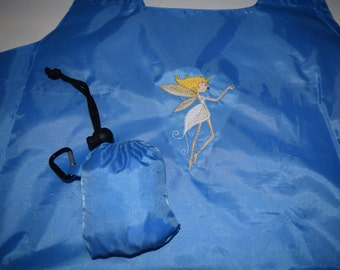 Fairy Decorated Tote Bag  Stow-N-Go  Clip onto your Belt or Purse Ready Bag Portable and Expandable - Ready to Ship