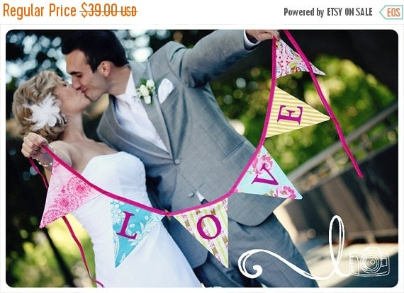 STOREWIDE 15% OFF Love Bunting Wedding Flag Banner Decoration. Colorful Fabric Photo Prop, ready to ship. Reversible.