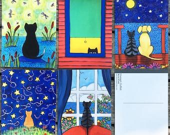 """Cat Postcard Pack """"B""""  Shelagh Duffett Cat Art"""