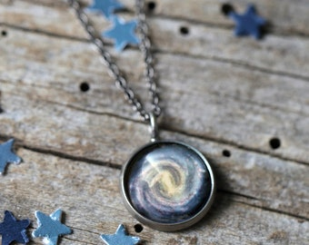 Milky Way Pendant - Galaxy Space Necklace - Antique Silver or Bronze - Cosmic Jewellery, Purple, Outer Space, Universe Jewelry