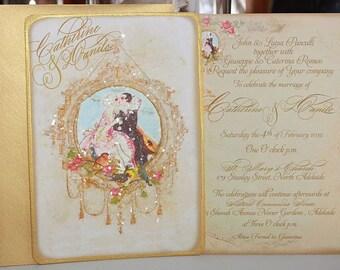 Pierrot Au Claire de la Lune Set of Six WeddingInvitations Metallic Gold Envelopes