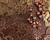 Metal Findings Destash Bronze Brass Copper Mix - Over 200+ pieces