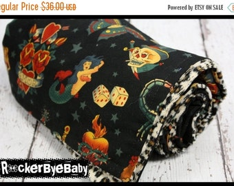 SUPER SALE Punk baby or toddler blanket Black Tattoo print natural Sparrow Skulls butterfly with Cheetah Minky Smooth