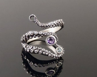 VDay SALE Wicked tentacle ring amethyst and topaz, Wedding Band, Engagement Ring, Occasion