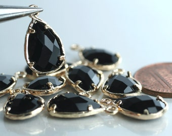 Promotion SALE 25% off Framed black glass drop charm connector, earring componenet, necklace pendant, 2 pcs (item ID G43N14GP