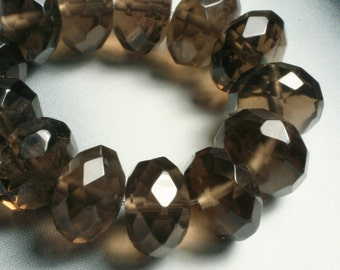 Smoky quartz faceted rondelle 10mm, 6 pcs (item ID L08SQFRN10)