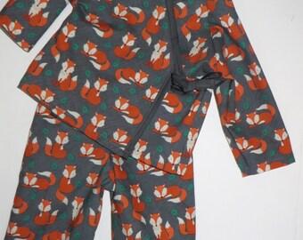 READY TO SHIP Baby Kimono Play Set - Orange Fox on Gray Forest Animals