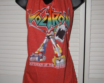 old school Voltron Defender of the Universe backless red shredded DIY tank top 80s cartoon comic book