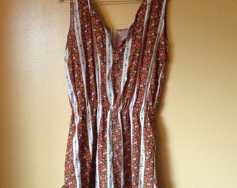 Vtg 70s Calico Cotton Floral Sun Dress