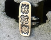 Triple totem, sterling silver, handmade, artisan ring.  Made to order in your size.