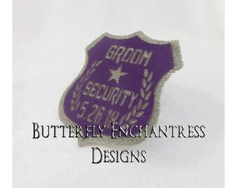 Groomsman Gift - Gray GROOM SECURITY Wedding Badge Pin - Best Man - Grey Purple - Personalized Custom Wedding Date - BE Lapel