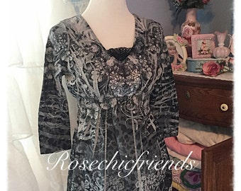 Refashioned Top Tunic Tshirt Large Shabby Chic Lace ecs svfteam