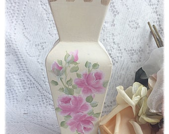 Glass VASE Shabby Cottage Chic Cream White Hand painted Pink Roses ECS sct schteam