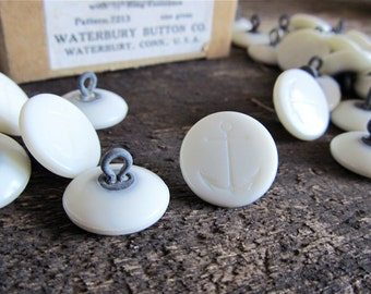 100 Vintage Waterbury White Plastic Anchor Shank Buttons