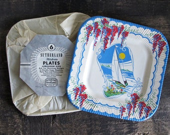 Set of 6 1940s Vintage Paper Plates With Sail Boat Design