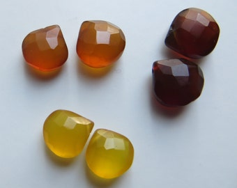 10mm - 12mm Faceted Quartz Briolettes - 3 Pairs, As Shown