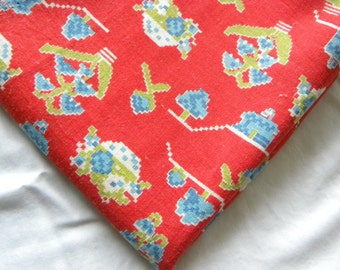 Vintage Red and Blue Novelty Design Sugar or Flour Sack Feedsack Cotton Fabric Small Bag 28.5 x 32