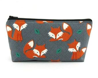 Orange Fox Cosmetic Bag, Zip Pouch, Makeup Bag, Pencil Case, Zipper
