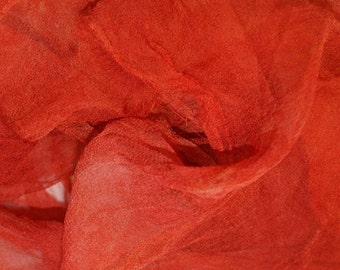 Clivia in  Hand Dyed Silk Gauze  for Nuno Felting