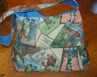 handmade tapestry golf pleated purse pocketbook handbag lined pockets clutch old-fashioned club ball sport
