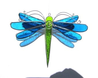 You Pick Any Color - 3D Stained Glass Dragonfly Twirl - Medium Home and Garden Suncatcher Hanging Nature Insect Ornament (MADE TO ORDER)