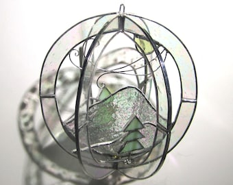 Winter Wind - Stained Glass 3D Sphere - Shimmering Clear Mountain Nature Scene Hanging Handmade Orb Home Decor Suncatcher  (READY TO SHIP)