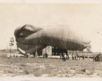 Vintage Snapshot Airship Hot Air Balloon Giant Rocket Shape Balloon Zeppelin RPPC