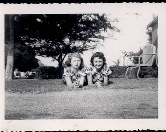 vintage photo 1945 Twin Young Ladies Identical Check Blouses Lay on Grass