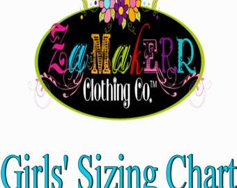 Zamakerr Clothing Co. Girls' Measurement Sizing Chart