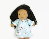 Doll clothes 14, 15, 16 inch Waldorf doll nightgown, turquoise flannel snowman print, toy sleepwear