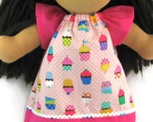 Waldorf Doll Clothes, cupcake print dress for 14, 15, 16 in dolls, Waldorf doll dress, pink doll clothes