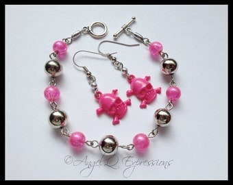 Pretty Poison Rockabilly Beaded Bracelet with Skull and Crossbones Earrings Jewelry Set OOAK