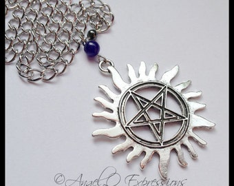 Supernatural Winchester Demon Hunter Anti-Possession Tattoo Necklace with Hematite and Blue Aventurine