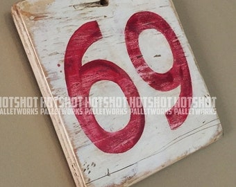 69, Sixty Nine, Special number, Scoreboard style, Vintage-looking upcycled wood sign, hand made, hand painted