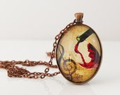 Wine Lover Necklace, Art Print Necklace, Red Wine