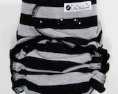 AI2 Cloth Diaper Made to Order - Black and Grey Stripes - You Pick Size and Style - Custom Cloth Nappy Diaper - Black and Gray Striped