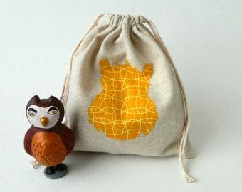 Back to School Reusable Sandwich or Snack bag, Fabric Drawstring Bag, Owl silhouette  drawstring snacks bag, Eco-friendly snacks bag