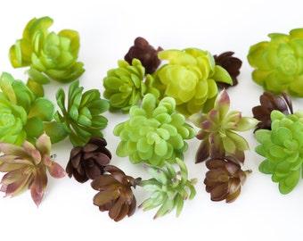 Fake Succulents - Set of 10 Artificial Succulents in Green and Plum - Faux succulents - artificial succulents -READ DESCRIPTION -Item 077