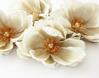 6 Large Magnolias in Creamy Gray Beige - silk flower, artificial flower -may be less than perfect - ITEM 0433