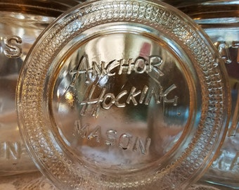 one shiny vintage anchor hocking mason fruit jar glass insert lid regular mouth canning disc no anchor embossing style