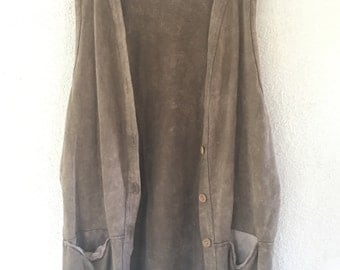 Liz & Jane 90s Art Teacher long beige Tunic Vest with oversized pockets
