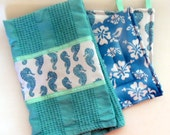 Reserved for Allie - Kitchen Towel and Potholder Set, Seahorse and Hibiscus Towel and Potholder Set, Turquoise Seahorse Towels