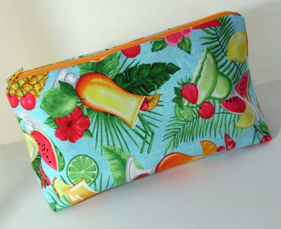 Tropical Drink Make Up Bag, Tropical Pattern Cosmetic Bag, Aqua Medium Zippered Pouch, Tropical Drink Makeup Bag, Hibiscus Cosmetic Bag
