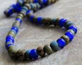 6/0 Matte Denim Cobalt Aged Striped Czech Glass Striped Seed Bead Mix : 10 Inch Strand Seed Bead