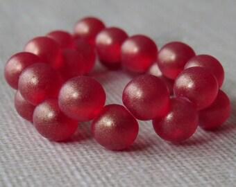 6mm Top Hole Ruby Sueded Gold Czech Glass Bead : 25 pc Ruby 6mm Czech Melon