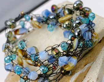 Beaded necklace, wire wrapped necklace, multi-strand necklace, wire crochet necklace, artisan necklace, crystal necklace, blue necklace