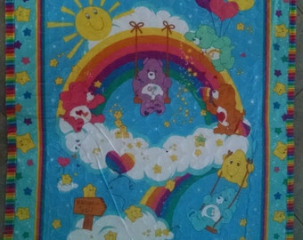 Care Bear Rainbow Trail Crib QUILTED Blanket - Customizable